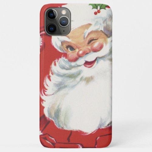 Vintage Christmas Jolly Winking Santa Claus iPhone 11 Pro Max Case
