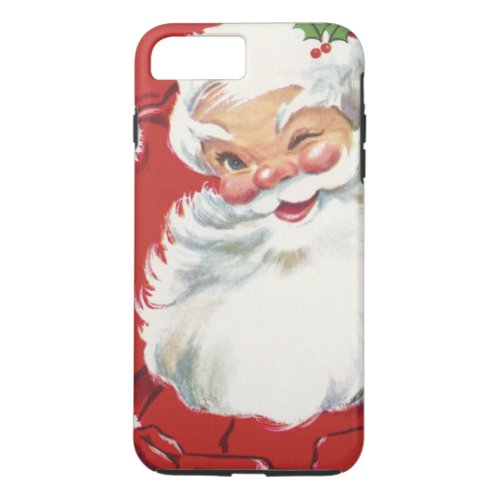Vintage Christmas Jolly Winking Santa Claus iPhone 8 Plus7 Plus Case