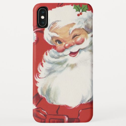 Vintage Christmas Jolly Winking Santa Claus iPhone XS Max Case