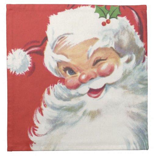 Vintage Christmas, Jolly Winking Santa Claus Cloth Napkin