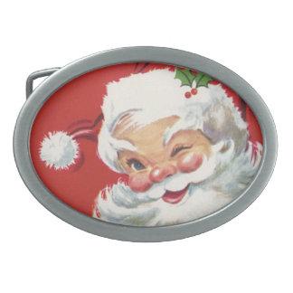 Vintage Christmas, Jolly Winking Santa Claus Oval Belt Buckle