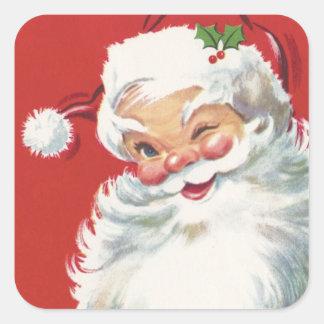 Vintage Christmas, Jolly Winking Santa Claus Square Sticker