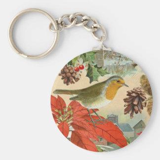 Vintage Christmas Keychain w/ bird and flower