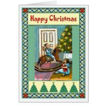 Vintage Christmas,  Kids, rocking horse, tree Card
