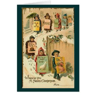 Vintage Christmas Kids Walking Stationery Note Card
