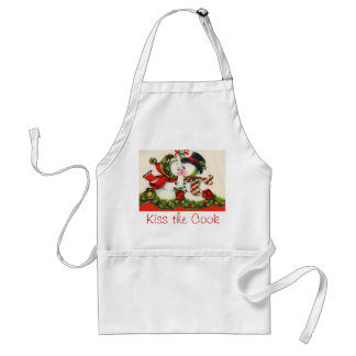 Vintage Christmas Kiss Adult Apron