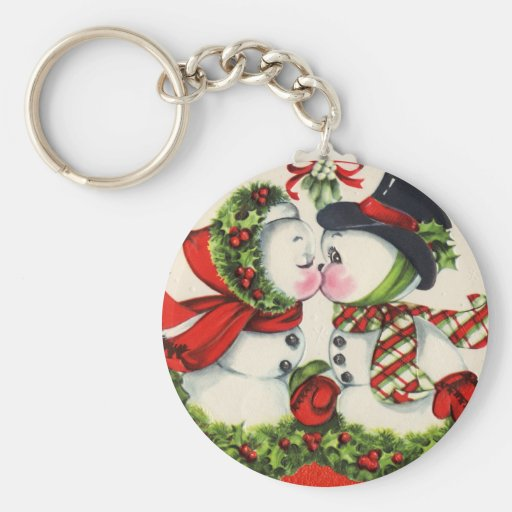 Vintage Christmas Kiss Basic Round Button Keychain