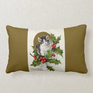Vintage Christmas Kitten Gold Lumbar Pillows