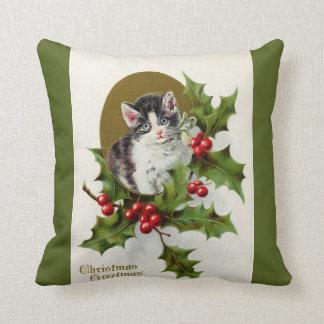 Vintage Christmas Kitten Green Throw Pillows