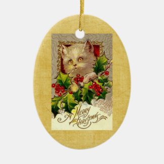 Vintage Christmas Kitten Holly Oval Ornament
