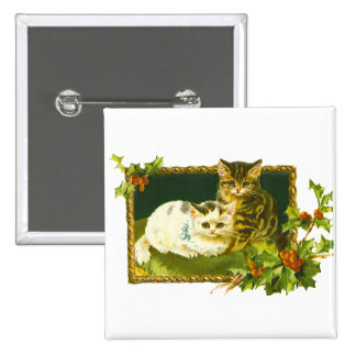 Vintage Christmas Kittens Button