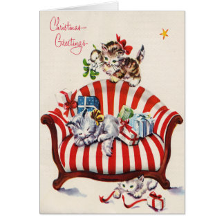 Vintage Christmas Kittens Greeting Card