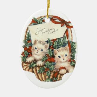 Vintage Christmas Kittens Oval Ornament