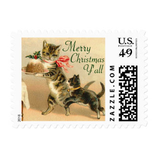 Vintage Christmas Kittens Postage Stamps
