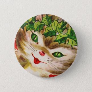 vintage Christmas kitty Button