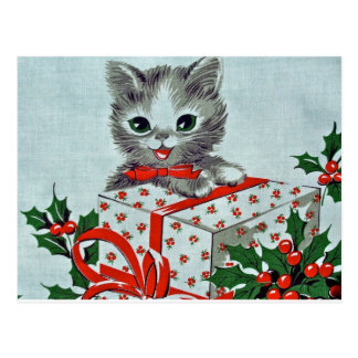 Vintage Christmas Kitty Cat With Gift Postcard
