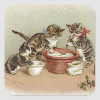 Vintage Christmas Kitty Cats Making Pudding Square Sticker