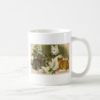 Vintage Christmas Kitty Images Coffee Mugs