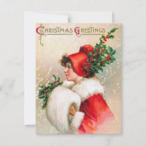 Vintage Christmas lady add message card