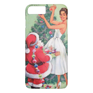 Vintage Christmas lady and Santa phone case plus