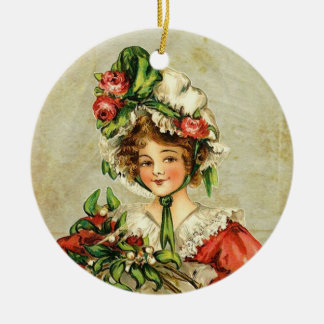 Vintage Christmas Lady Ceramic Ornament