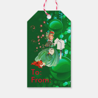 Vintage Christmas Lady Mailing Letter Green Gift Tags