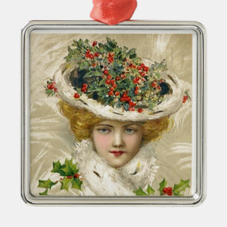 Vintage Christmas Lady Metal Ornament
