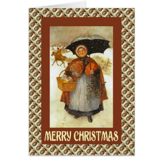 Vintage Christmas, lady with a basket of gifts Card