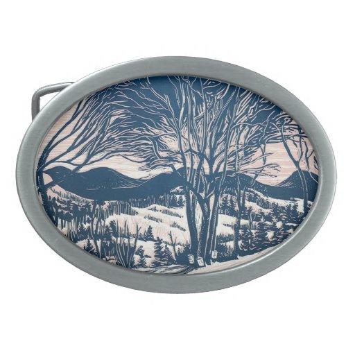 Vintage Christmas Landscape, Snow Trees Mountains Belt Buckles
