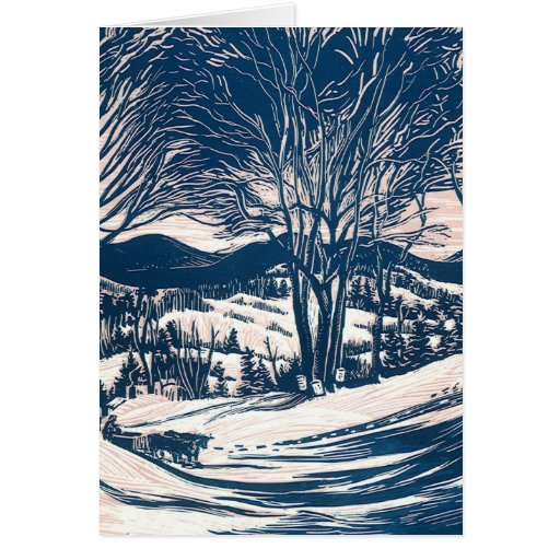 Vintage Christmas Landscape, Snow Trees Mountains Cards