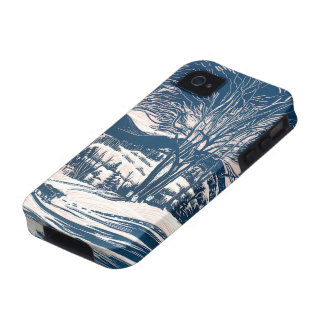 Vintage Christmas Landscape Snow Trees Mountains iPhone 4/4S Covers