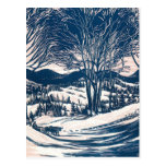 Vintage Christmas Landscape, Snow Trees Mountains Post Card