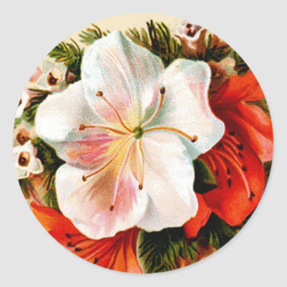Vintage Christmas Lilly Classic Round Sticker