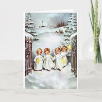Vintage Christmas - Little Angels with Stars, Card