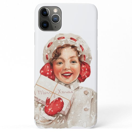 Vintage Christmas Little Girl Holding Present iPhone 11 Pro Max Case