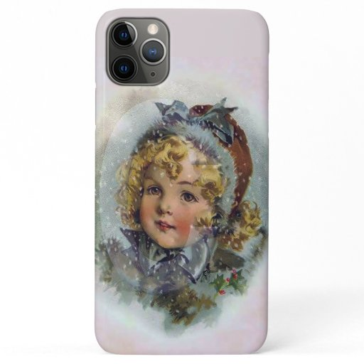 Vintage Christmas Little Girl in Winter iPhone 11 Pro Max Case
