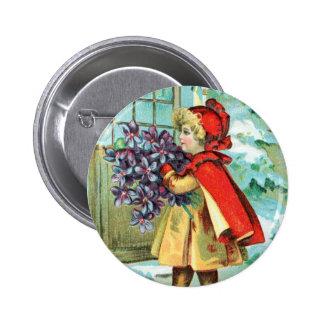 Vintage Christmas Little Girl & Violets Buttons
