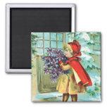 Vintage Christmas Little Girl & Violets Fridge Magnet