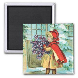 Vintage Christmas Little Girl & Violets Magnet