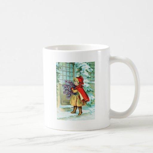 Vintage Christmas Little Girl & Violets Coffee Mugs
