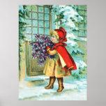 Vintage Christmas Little Girl & Violets Poster