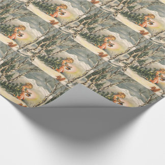 Vintage Christmas, Little Girl with Tree Wrapping Paper
