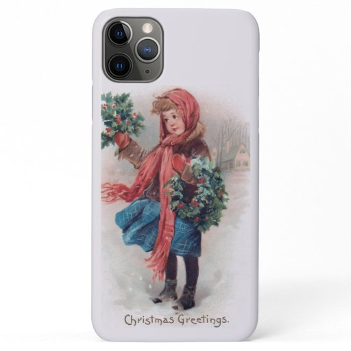 Vintage Christmas Little Girl With Wreath In Snow iPhone 11 Pro Max Case
