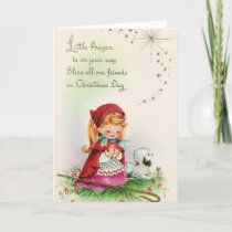 Vintage Christmas - Little Shepherdess's Prayer, Holiday Card