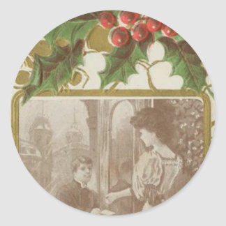 Vintage Christmas Love and Holly Classic Round Sticker