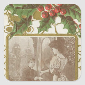 Vintage Christmas Love and Holly Square Sticker