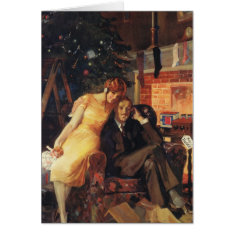 Vintage Christmas, Love And Romance Couple Card at Zazzle