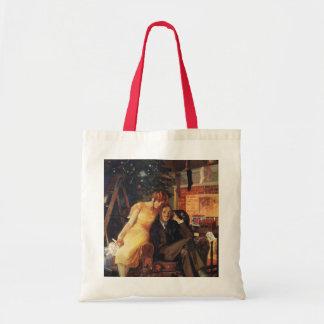 Vintage Christmas, Love and Romance Couple Tote Bag