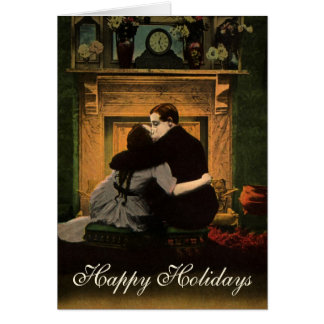 Vintage Christmas, Love and Romance Fireplace Card