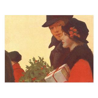 Vintage Christmas, Love and Romance Gift Shopping Postcard